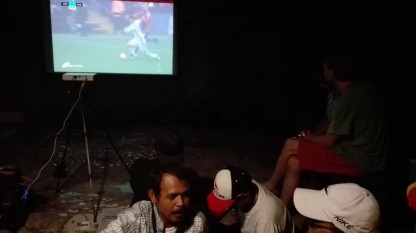 Watching football at stage